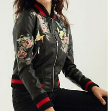 Silence + Noise Urban Outfitters Ashland Patches Rose Bomber Jacket New Size M