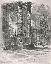 D0109 Roma - San Pietro - Colonne tortili - Stampa d'epoca - 1925 old print