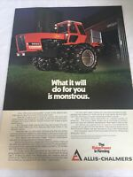 VINTAGE ALLIS CHALMERS Print Advertising Page Ad 8550 SERIES 4WD TRACTOR 1977