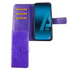 Samsung Galaxy A40 Hülle Case Handy Cover Schutz Tasche Flip Schutzhülle Violett