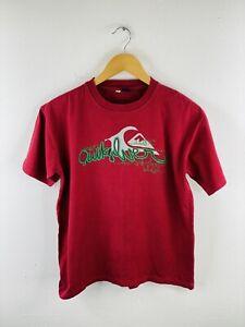 Quicksilver Men's T Shirt Size M Maroon Casual Logo Short Sleeve Crew Neck