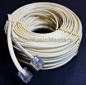 Ivory 100' ft Telephone Modular Line Cord Phone Cable Extension Wire RJ11 VWLTW