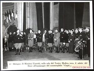 Bologna - Ministro Cianetti...equipaggio Sommergibile CAGNI fotografia 24 X 18
