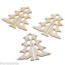 3 Boutons Pendentif en Bois Creux Sapins de Noël Nature Cadeau Noël 9.8x9.6cm