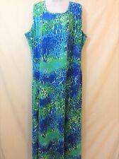 JESSICA LONDON Womens Blue Green Snake Print Sleeveless Maxi Dress Size 24 Tall