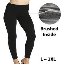 Womens Plus Size Winter Warm Fleece Full Length Legging Large 1XL 2XL Black Pant