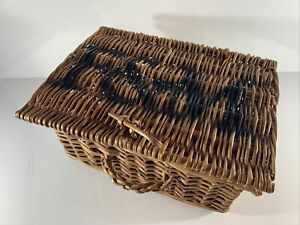 Small Fortnum and Mason F&M Wicker Basket with Handle 28x20x13cm