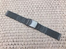 Black Stainless Steel double Loop safety Clasp Shark Mesh Watch Strap 20mm