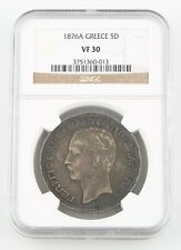 1876-A Greece 5 Drachmai Silver Coin Vf-30 Ngc Arms Within Crowned Mantle Km-46