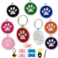 Round Paw Shape Personalised Dog ID Tags Engraved Cat Collar Tag Name Plate Disc