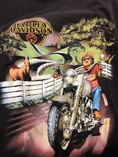 Vintage 3D EMBLEM Harley Davidson T Shirt Xl David Mann Artist