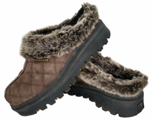 Skechers 46330 Brown Suede Faux Fur Lined Mule Slip on Clog Shoes Womens 7 M