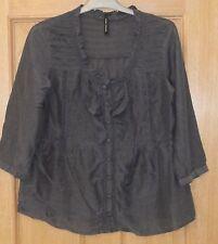 Marks & Spencer - Denim Blue Silk & Cotton 3/4 sleeve frill blouse Top - size 10