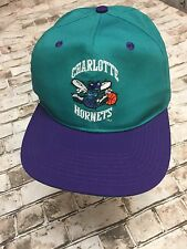 Vintage Charlotte Hornets Logo 7 NBA Teal Purple Snapback Hat Cap