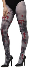 Ladies Opaque Zombie Dirt Bloody Halloween Fancy Dress Costume Outfit Tights