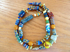 """Copal Amber Venetian  Murano Trade Bead Necklace B  Wound Wire Beads  28"""""""