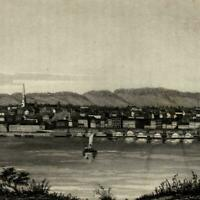 Cincinnati Ohio early charming city view from river c.1862 Wellstood old view