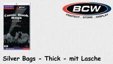 BCW - 100 Comic Book Bags - Hüllen - Silver Age Size Regulär / Thick mit Lasche