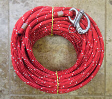"""7/16"""" x 115 ft.Dac/Spectra Halyard,Spliced in Hvy Fixed Bail Shackle Red/white"""