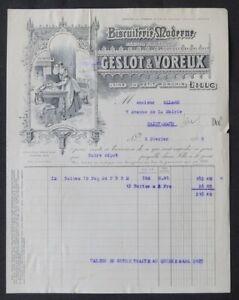 Facture LILLE 1925 BISCUITERIE MODERNE GESLOT VOREUX  illustrée 82