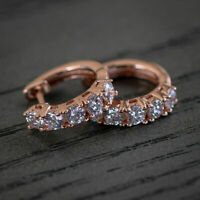 1.20 Ct Round Cut D VVS1 Diamond Huggie Hoop Earrings 14k Rose Gold Finish