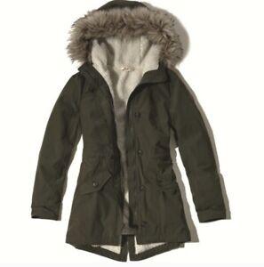 Hollister Green Sherpa-Lined Parka/Utility Jacket