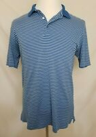 Bobby Jones Mens Medium Polo Shirt Blue Striped Peruvian Pima Cotton S/S Golf