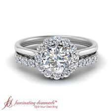 Round Cut Diamond Flower Halo Ring With Matching Wedding Band For Women 1 Carat