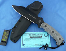 TOPS Smoke Jumper Knife Black Linen Micarta 1095 Carbon Steel USA Made