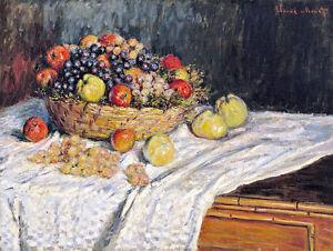 Apples and Grapes by Claude Monet 60cm x 45.3cm Art Print