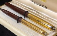 Vintage 1st Yr Parker 51 DJ Fountain Pen/Pencil Cordovan Brown High Imprint Caps