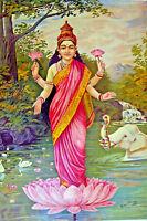 Large Lakshmi India Hindu Vishnu Nepal Painting Real Canvas Giclee Art Print
