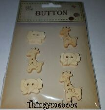 6 x GIRAFFE/ELEPHANT WOODEN ANIMAL/SAFARI BUTTONS - CRAFTS/SEWING/KNITTING