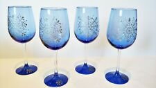 Blue Stemmed Wine Glasses Silver Hand Painted Snowflakes Set of 6 NEW Holiday