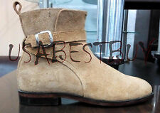 New Pure Handmade Mens Jodhpur Light Brown Suede Ankle High Welted Sole Boots