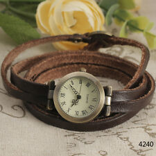 Vintage Brown Long Genuine Leather Strap Women Lady Quartz Watch Bracelet Hour 0