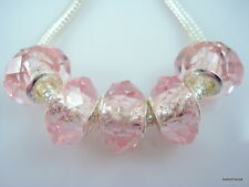 30pcs Pink Crystal Glass Big Hole Beads Charms Fit European Charm Bracelet S02