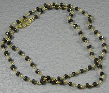 Vermeil Gold over .925 Sterling Silver Petite Faceted Black Spinel Necklace