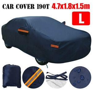 190T Full Car Cover Waterproof Breathable Sun UV Snow Heat Rain Dark Blue L Size