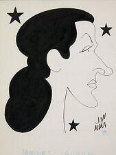 Jan MARA(1912-1992)Dessin de Georges Guétary épouse de Georges Guétary CINEMA