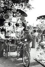 1982 Vintage Photo street merchant loads up bicycle sidecar in Rangoon Burma