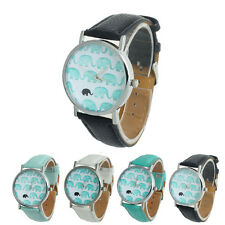 New Womens Elephant Pattern Faux Leather Band Analog Quartz Dial Wrist Watches