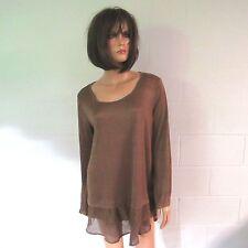 Kori America Poly Spandex Tiered Hem Dress Shirt Tunic Top Bronze M NWT