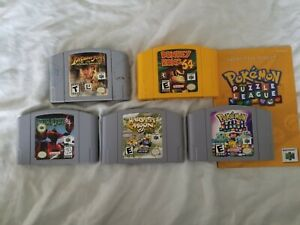 Nintendo N64 Video Game Lot, Harvest Moon 64, Donkey Kong 64, Pokémon Puzzle!