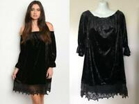BLACK VELVET LACE OFF SHOULDER DRESS SMALL NEW GOTH HALLOWEEN BOHO WITCHY NWT