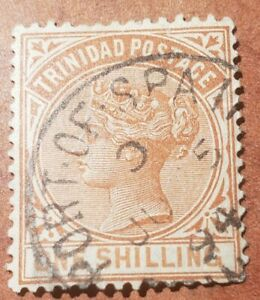 GM119 TRINIDAD POSTAGE ONE SHILLING QUEEN VICTORIA USED STAMP