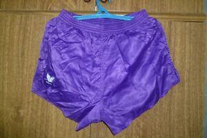 Erima Football Sport Shorts 80s 1980s 90s Nylon Polyamid Purple Men Size 7 (XL)