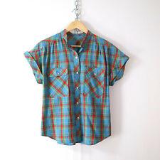 vintage 70s 80s rainbow plaid shirt top M retro cute lightweight vtg multicolor