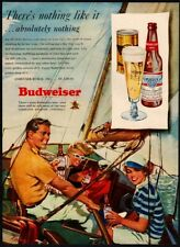 1949 Budweiser Beer - Couple- Sailboat - Ocean - Captain - Retro Vintage Ad