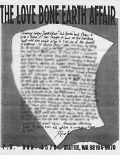 Mother Love Bone Newsletter Copy - August 1989 - Pearl Jam